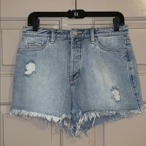 Distressed jean shorts — never worn